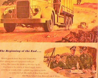 1944 Mack Army Truck Ad Matted Vintage Print World War II