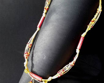 Yellow Red Necklace Paper Yarn Paper Beads Glassbeads Czech Crystal Paper Art Boho Tribal Artist Paper Jewelry Summer Sun Fire Happiness