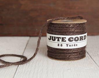 Macrame Cord - 5 Ply Jute Rope, Chocolate Brown, 25 Yards
