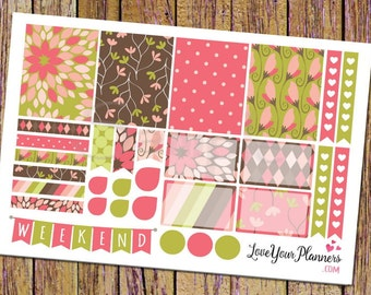 LAYLA Sweet Pink Green Floral Planner Stickers Weekly Planner Stickers Weekend Banner Heart Checklist Vertical Planner Floral Stickers 166