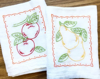 Apples and Pears Hand-embroidered Dish Towels