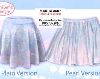 Kawaii Marine Ocean Mermaid Skirt Printed Skater Skirt Splash Dream Undersea Seashell Pastel Fairy Kei Size XS Through 3XL *MTO, Month*