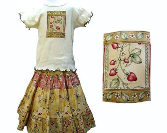 Girl Strawberry Outfit Mid-calf length Skirt Vintage Inspired Girl Outfit Garden Nature Long Skirt & Top Set Girl Clothes Tiered Twirl Skirt