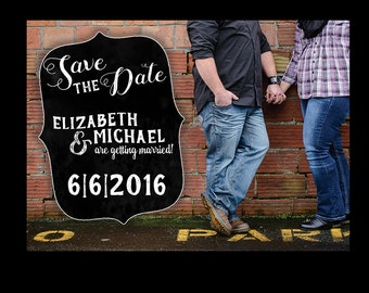 Chalkboard Save The Date / Save the date Chalkboard/ Save the date / Country Save the date / Photo Save The Date / Rustic / Chalkboard / 5x7