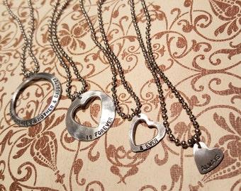 MOTHER & DAUGHTER 4 GENERATIONS necklace set w/poem