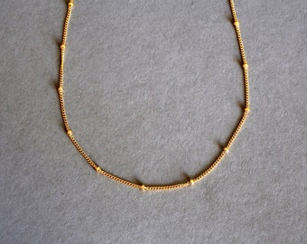 Delicate Gold or Silver Necklace Perfect Layering Necklace Dainty Gold Layered Necklace Beaded Chain Gold Delicate Necklace