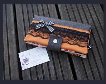 """lovely lace"" checkbook in imitation leather swarovski"