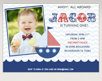 Nautical Boat Birthday Party printable Photo invitation #387