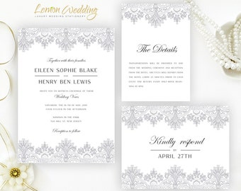 Light gray wedding Invitation kits printed on luxury shimmer card stock | Cheap wedding invitations + Info cards + RSVP postcards