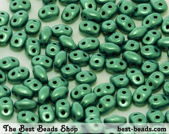 25g (300pcs) Green Metallic Suede Super Duo Czech Glass Seed Beads 5x2.5mm