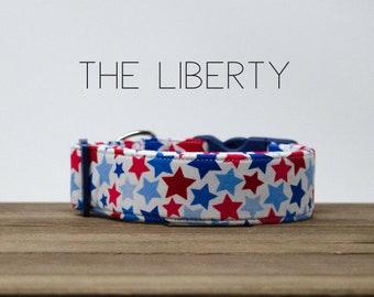 "Modern Stars & Stripes Patriotic Dog Collar ""The Liberty"""