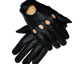 Genuine leather Driving black Gloves