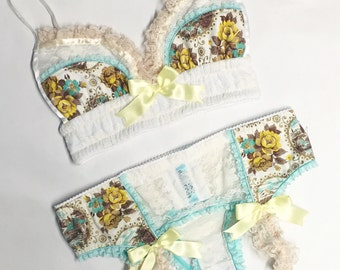 Turquoise and Yellow Vintage Floral with Cream Lace Garter Belt - Pick Your Size - LIMITED EDITION - Handmade Vegan Bridal
