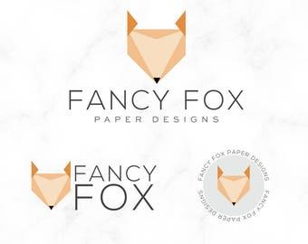 Premade Logo Design - Fox Logo - Geometric Logo - Modern Logo - Designer Logo - Logo Design - Animal Logo - Origami Logo - Paper Logo -