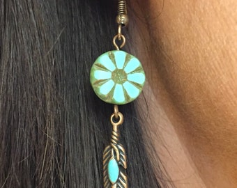 Etched Turquoise Boho Earrings