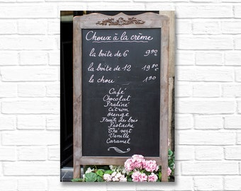 Paris Photography on Canvas - Chalkboard Menu Sign, Gallery Wrapped Canvas, Large Wall Art, Architectural Urban Home Decor,