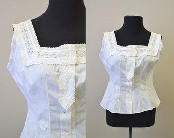 Victorian Corset Cover with Heavy Lace Trim