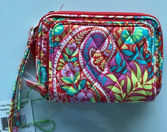 Vera Bradley phone wallet, crossbody, wristlet. On the square cell phone crossbody, retired Paisley in Particular pattern. Free shipping!