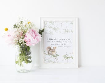 Watercolour Squirrel Woodland Shakespeare As You Like It Quote Print A4 A5