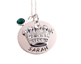 Princess Crown- Necklace Birthstone Included  Personalized Name Princess Crown Gift Birthday Necklace Princess Jewelry Stainless Steel