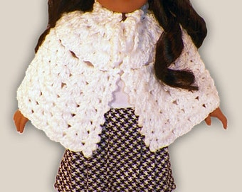 """Crochet Pattern for Sweet Open Front Capelet- Fits AMERICAN GIRL or 18"""" Dolls"""