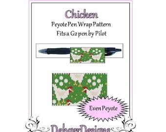 Bead Pattern Peyote(Pen Wrap/Cover)-Chicken