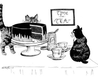 "Oliver and Azalea: Time for Tea (8""x10"")"