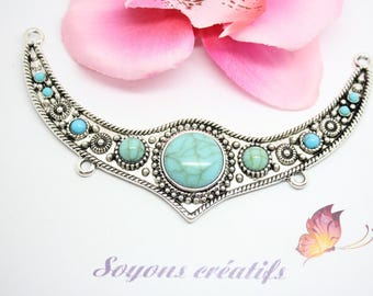 Gorgeous bib 115x62mm-created turquoise Howlite Jewelry - Silver connector