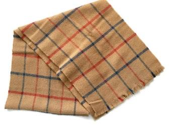 Vintage Christian Dior Monsieur Plaid Wool Scarf, Lambswool, Woven in Scotland