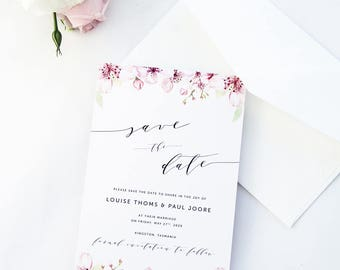 Bloom Save the Date Cards, Printable Calligraphy Save the Date Cards, Printed Save the Date Cards All Matching Stationery Available, Spring