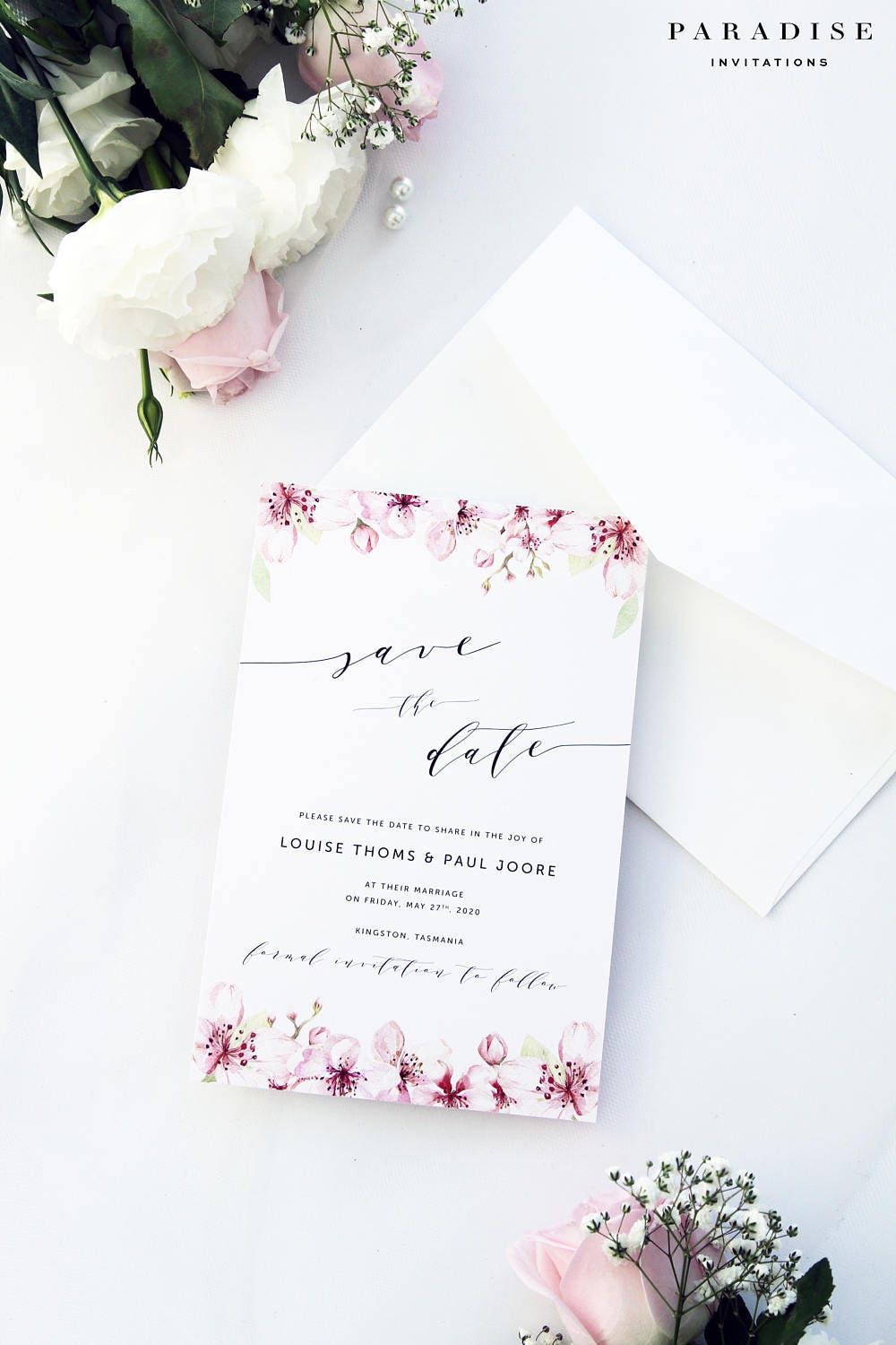 Bloom Save the Date Cards Printable Calligraphy Save the Date