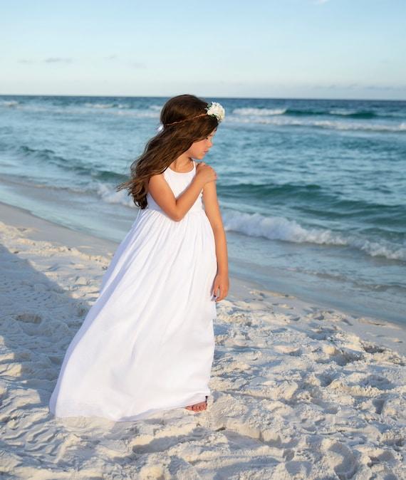 Girls White Beach Dress - White Beach Maxi Dress - Beach Wedding - White Flower Girl Dress - Beach Flower Girl Dress - Beach Maxi Dress