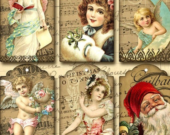 Christmas Tags Instant Download digital Collage Sheet
