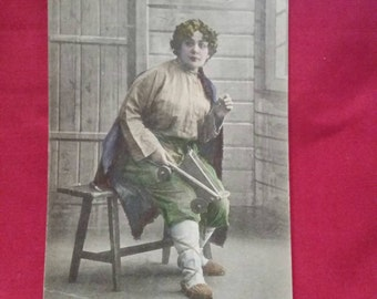 Antique Postcard from Russia with Hand-Tinting, Early 1900's Ephemera, Unique, woman with toy