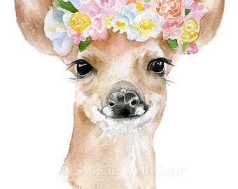 Deer Fawn Floral Crown Watercolor Painting 11x14 Giclee Print Woodland Animal Girls Room Fine Art Nursery