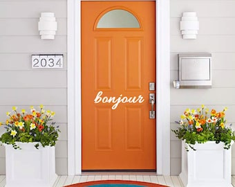 Vinyl Wall Decal Art - Bonjour Vinyl front door sign. Goodbye Bonjour Aloha Salut Welcome Bye See-ya