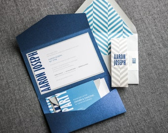 "Bar Mitzvah Invitations, Bold Modern Party Invitations, Blue and Silver Invites, Jewish Wedding Invitation - ""Modern Mitzvah"" PF-1L SAMPLE"