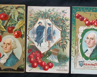 George Washington 3 Embossed Postcards 1910 Cherry Cherries Father of Country  N W Taggart