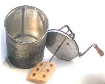 Antique Butter Churn Tin Cylinder 1800s