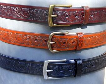 Horse Floral Leather Belt
