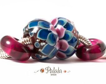 Big hole Lampwork Glass Bead, euro style bead, European charm bead, Dahlia charm bead