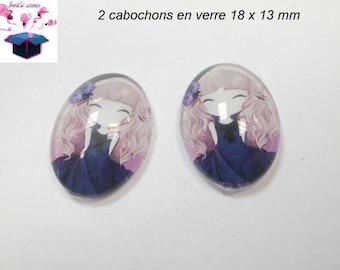 2 cabochons glass 18mm x 13mm girl theme