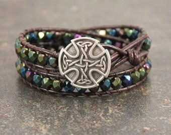 Bold Celtic Cross Bracelet Purple Green Bronze Silver Blue Celtic Cross Jewelry Colorful Double Leather Wrap Bracelet