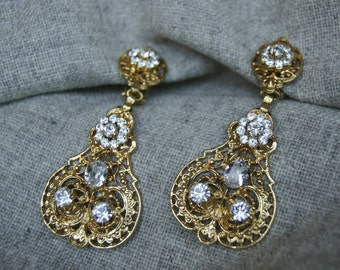 Bridal golden chandelier earrings, earrings set, filigree earrings with Swarovski