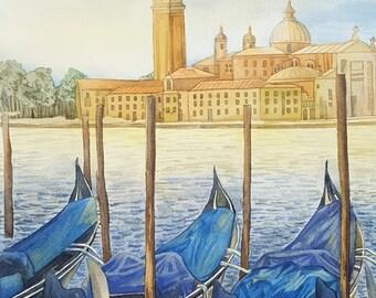 Venice. Original watercolor painting.