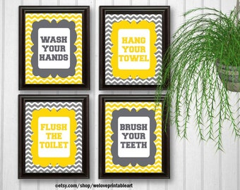 Wash Your Hands Sign, Kids Bathroom Decor, Flush the Toilet, Brush Your Teeth Sign, Hang Your Towel, Yellow and Gray Bathroom Wall Art