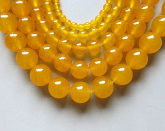 Full Strand 15inches Yellow Chalcedony Round Beads - A506