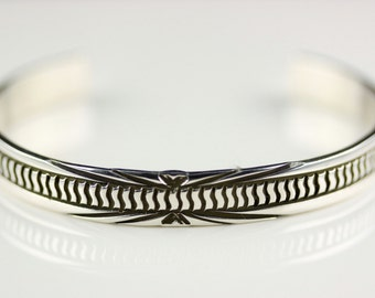Native American Indian Jewelry Sterling Silver Cuff Bracelet By Rick Enriquez