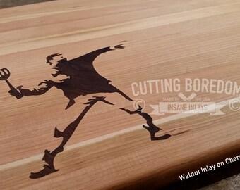 """9x13"""" Chopsky. Bansky inspired Cutting board / serving platter/ kitchen art. Graffiti art.  Street artist"""