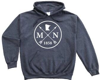 Homeland Tees Minnesota Arrow Pullover Hoodie Sweatshirt